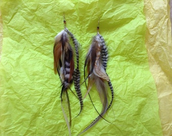 Cruelty free feather double tiered earrings