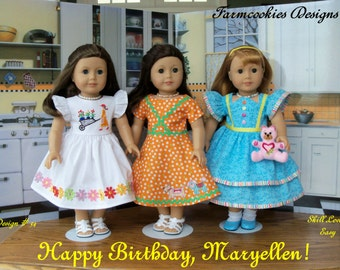 "PDF Sewing Pattern / Happy Birthday, Maryellen! / 1950's Style Pattern for 18"" Dolls Like American Girl®"