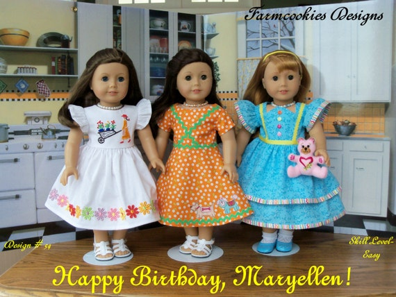 PRINTED Sewing Pattern / Happy Birthday, Maryellen! / 1950's Style Pattern for American Girl Maryellen, Kit, Molly