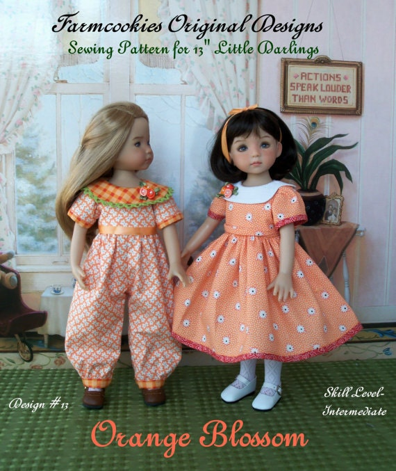 "PDF Sewing Pattern / ORANGE BLOSSOM for  Dianna Effner's 13"" Little Darling Dolls"
