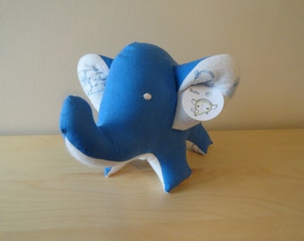 Baby Safe Large Stuffed Elephant- Blue