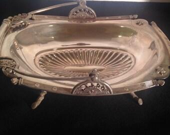 Antique Victorian Footed Cake Basket Wedding Bride's Basket Ornate Silver Plate Wilcox Meridan Holiday Centerpiece