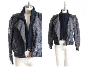 Vtg Sweater & Leather Jacket Size 8