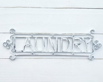 Shabby White  Laundry Sign , Pantry Sign In White , Gift for Sister , Dinner Decor ,Farmhouse Chic Sign, Family Kitchen , February Trends