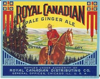 Royal Canadian Pale Ginger Ale Vintage Label, C1940s