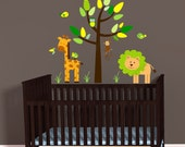 Yellow Mini Jungle Animal Decals, Giraffe Lion Jungle Decals, Nursery Above The Crib Decal, Monkey wall decal, Chevron Decals, Brown Tree