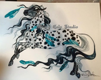 Appaloosa Feather Native American Indian Print Horse Leopard