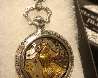 Clockwork Mermaid Steampunk Pocket Watch Pendant Necklace -Made with Real Watch Parts (2000)