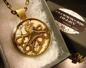Octopus over Vintage Map  Steampunk  Inspired Pendant Necklace- Antique Brass (2090)