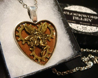 Clockwork Fairy-  Heart with Gears Steampunk Fairy Pendant Necklace- (1936)
