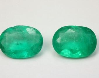 Beautiful Natural Loose Colombian Emerald Pair Oval Shape 4.19 Carats