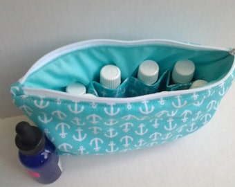 Essential Oil Bag - Small Zipper Bag - Personalized Bag - Cosmetic Bag - Essential Oils Pouch - Turquoise Oil Bag - Nail Polish Bag