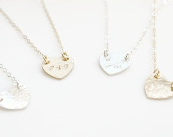 Personalized Heart Necklace, Initial Heart Necklace, 14k Gold Fill or Sterling Silver Necklace, BFF Necklace, Valentine's  day gift, Couples