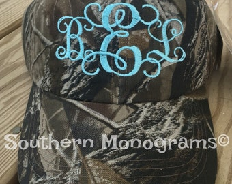Custom Personalized Monogrammed Baseball Cap Hat Camouflage Camo Great for Ladies or Men for Hunting Season