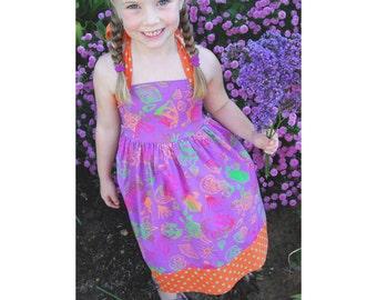 Rainbow Seahorse Halter Dress, Purple Girls Dress, Purple Seahorse Dress, Smocked Toddler Dress Halter