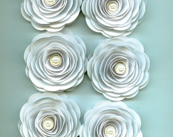 White Paper Rose with Light Ivory Pearls for Events, Crafts, and Weddings