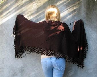dark chocolate...dark, dark brown,  Women Accessories Crochet shawl with pompon details
