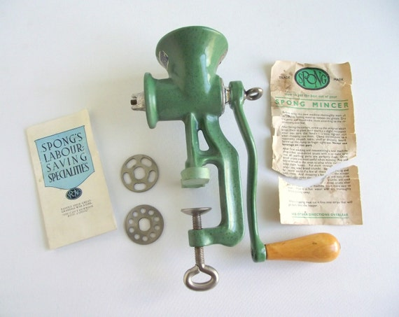 Vintage Spong Mincer E90 Manual Meat Grinder Green Enamel