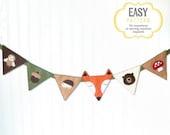 40% OFF: Woodland Bunting Banner Sewing Pattern, DIY Woodland Nursery Decor, Felt Woodland Baby Decor, Fox Owl Acorn Hedgehog Bear Mushroom