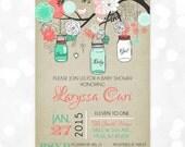 Mason Jars Baby Shower Invitation - Baby Girl Coral Mint Floral Rustic Shabby Chic Burlap Mason Jar DIY Printable Invite PDF (Item #124)