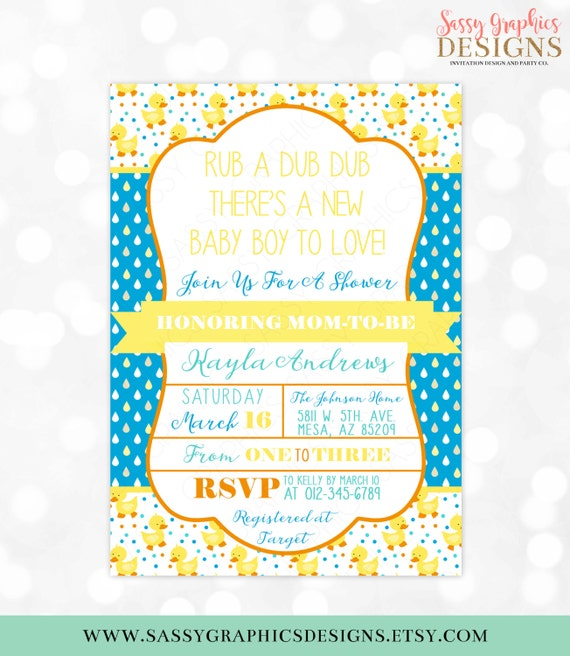Rubber ducky boy baby shower invite baby shower invitation digital il570xn filmwisefo Image collections