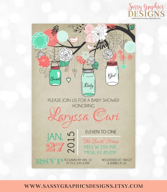Mason Jars Baby Shower Invitation Baby Girl Coral Mint Floral