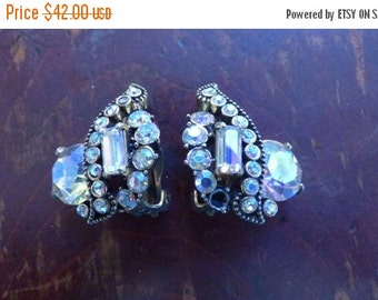AUTUMN SALE Marked Earrings (Hollycraft 1955 Corp) AND White Flower Earrings Marked (Germany) Both Collectible