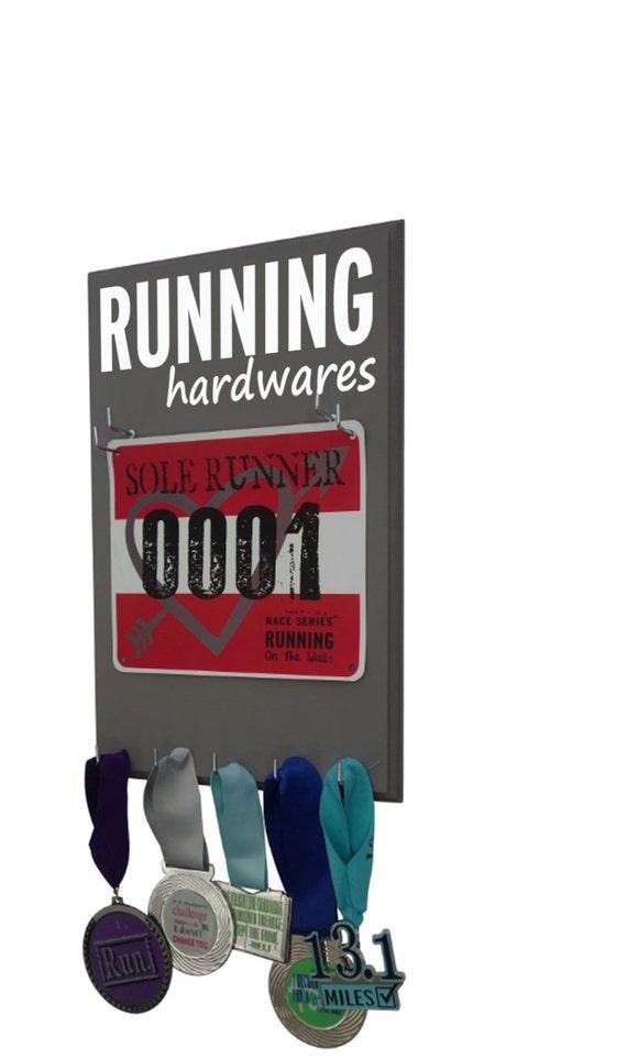 RUNNING medal hanger - medal display rack with race bib holder - running bib holder - running medal hanger - Running hardwares