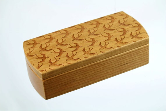 "Wooden Storage Box, MB5, 8-1/2"" long x 3-7/8""wide x 2-3/8"" deep, Solid Cherry, laser engraved, Paul Szewc"