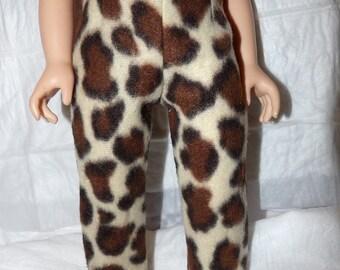 Fleece Leopard print leggings for 18 inch dolls - ag288