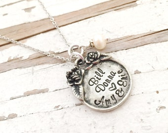 Hand Stamped Mommy Jewelry Mothers Rose Necklace Name Pendant grandmothers garden artisan jewelry christmas gift exchange for her