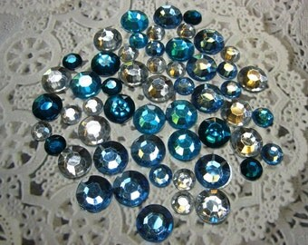 50 Flat Back Rhinestones Acrylic Gems in Blue and Silver for Winter Scrapbooking Cards Mini Albums and Papercrafts Jewelry DIY