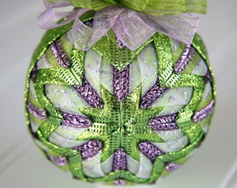 Purple, White and Green Quilted Ornament Ball - Fairy Tale