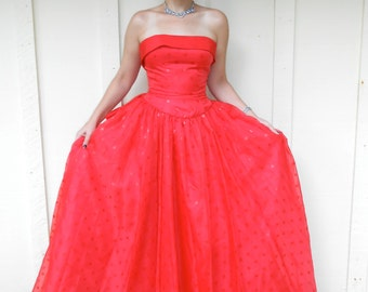 Vintage 1980s MIKE BENET FORLMALS red-on-red polka-dot strapless ball gown, size 8 / 10