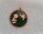 Valentines Day Vintage jade coral gold over silver pendant
