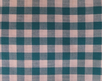 Vintage Green & White Gingham Check Cotton Fabric