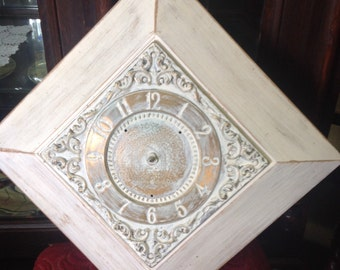 Shabby wood Vintage Clock Face~ GE ,Wood, Brass, ~REPOUSSE-