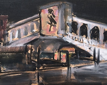 Rialto Bridge, Venice Italy Night Painting Original