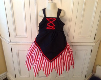 Pirate Girl Dress Boutique Knot Dress Halloween Costume Apron Style Red white Stripe Black