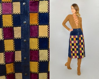 70's Leather Patchwork Skirt