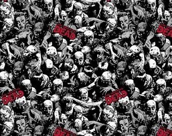 Walking Dead Zombies Knit Cotton Lycra Fabric, 1 yard