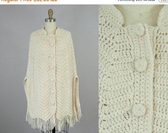 SALE 1970s Vintage Ivory Hand Knit Fringe Blanket Cape Poncho (S, M, L)