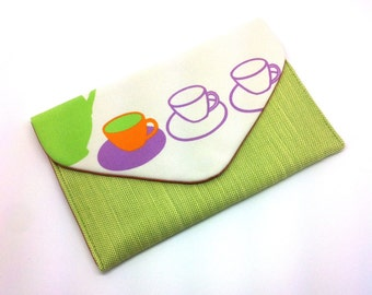 Tea Cup Envelope Clutch Bag Coin Purse Wallet Purple Orange White Green Gift for Women Cotton Magnetic Snap