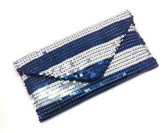 Sequinned Silver Envelope Clutch Bag Coin Purse Wallet Stripe Gift for Women Blue Magnetic Snap