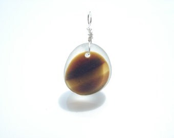 Chestnut Brown sea glass multi pendant with optional figaro chain - E0901 - from Seaham, UK