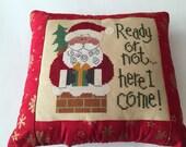 Christmas Pillow, Santa Pillow, Completed Cross Stitch, Finished Cross Stitch, Lizzie Kate Cross Stitch, Accent Pillow