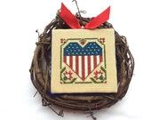 Grapevine Wreath, Cross Stitch, Flag, Finished Cross Stitch, Wall Decor, Americana
