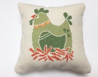 Chicken Cross Stitch, Finished Cross Stitch, Completed Cross Stitch, Home Decor, Country Home Cross Stitch