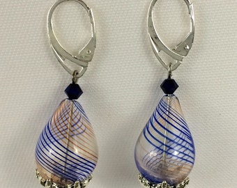 Light and lovely handblown blue and orange striped teardrop glass earrings.