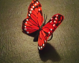 Large Red Butterfly Ring Adjustable Ring
